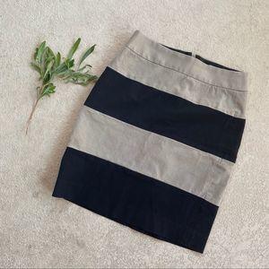 Banana Republic Cream & Black Stripe Pencil Skirt